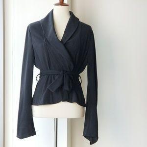 BCBG MaxAzria Black Wrap Waist Tie Soft Blazer